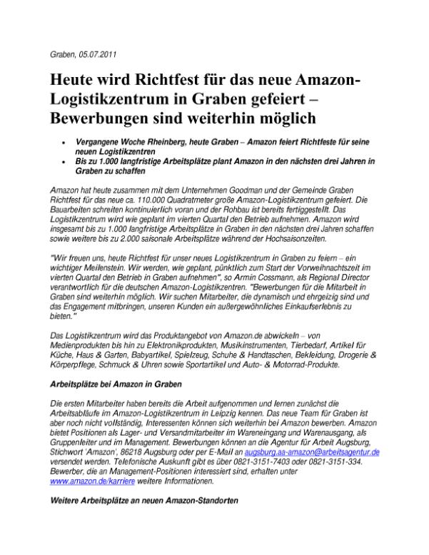 heute wird richtfest fr das neue amazon logistikzentrum in graben gefeiert bewerbungen sind weiterhin - Amazon Bewerbung