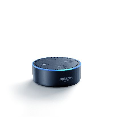 Echo Dot-Black, Low Angle, On.jpg