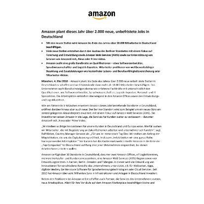 Amazon Newsroom Amazon Plant Dieses Jahr über 2000 Neue